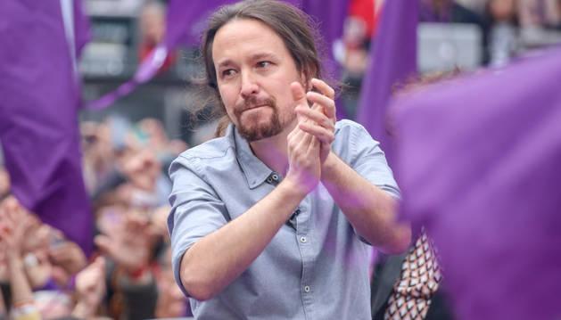 Foto del secretario general de Podemos, Pablo Iglesias, protagoniza el acto de precampaña de la formación en Madrid