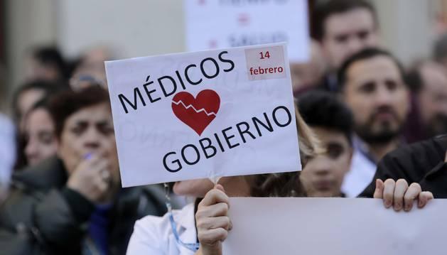 Médicos concentrados durante una de las últimas jornadas de huelga.