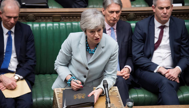 Foto de Theresa May, en la Cámara de los Comunes.