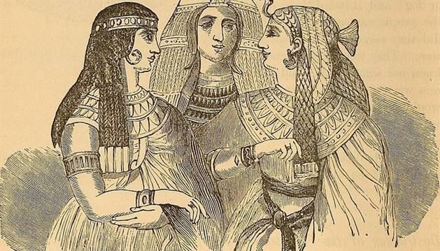 Dibujo de varias mujeres del antiguo Egipto.