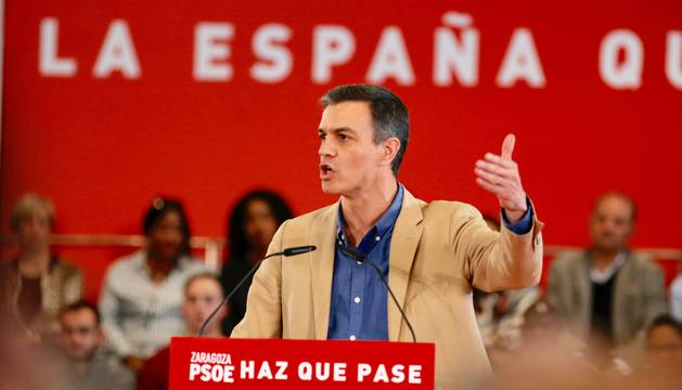 Pedro Sánchez, en el mitin del PSOE en Zaragoza.