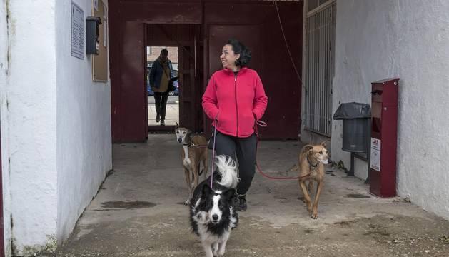 Una usuaria del pipican accede a la plaza y lee el bando colocado a la entrada, junto a las papeleras donde depositar las heces caninas.