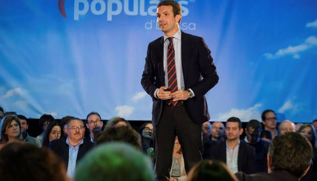 El presidente del PP, Pablo Casado, clausura un acto en Ibiza.