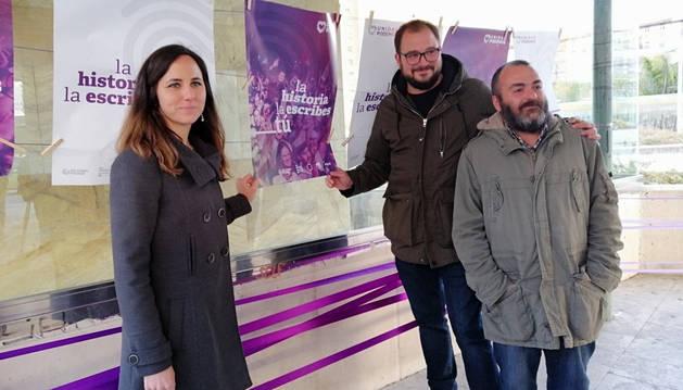 Ione Belarra, Guillen Carroza y Ricardo Feliu, de Unidas Podemos.