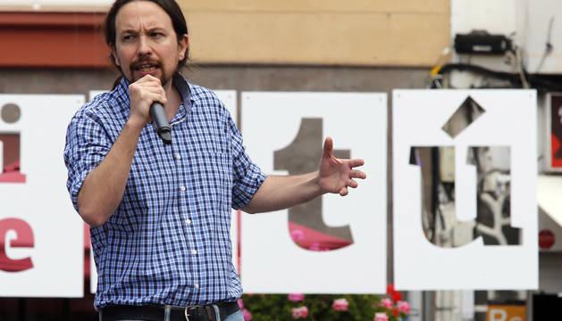 El candidato de Unidas Podemos a presidente del Gobierno, Pablo Iglesias, durante el mitín en el que participó este sábado en Las Palmas de Gran Canaria.
