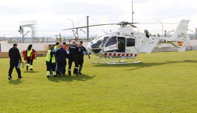El jugador del Cortes fue trasladado en el helicóptero medicalizado a Pamplona.