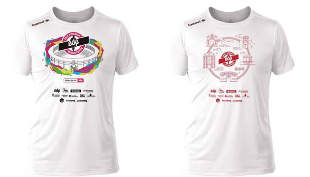 El diseño de la camiseta de los maratonianos (izda.) varía a la del resto de distancias.