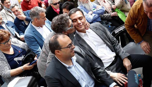 Pedro Sánchez participa en un acto en el Centro Municipal de Mayores Juan Muñoz de Leganés.