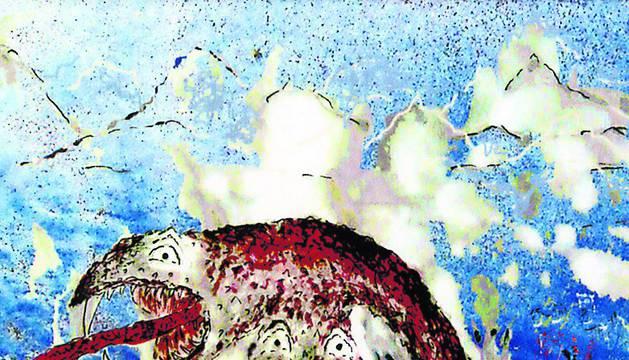 Ilustración titulada 'La serpiente de dos cabezas', realizada por la autora del libro.