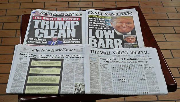 Portadas de medios norteamericanos tras la publicación de parte del informe Mueller.