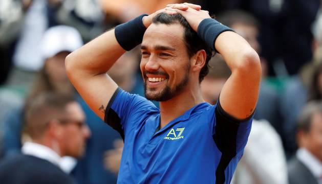 Fabio Fognini muestra su alegría tras ganar en Montecarlo.