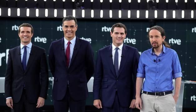 (De izq a dcha) Los principales candidatos a la Presidencia del Gobierno en las elecciones generales, Pablo Casado (PP), Pedro Sánchez (PSOE), Albert Rivera (Cs) y Pablo Iglesias (Unidas Podemos).