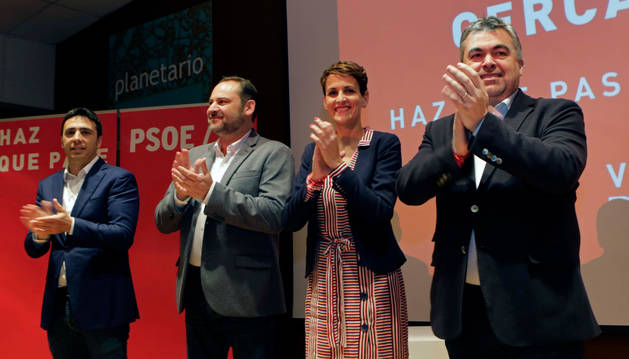 foto de Toni Magdaleno, José Luis Ábalos, María Chivite y Santos Cerdán, este jueves en Pamplona