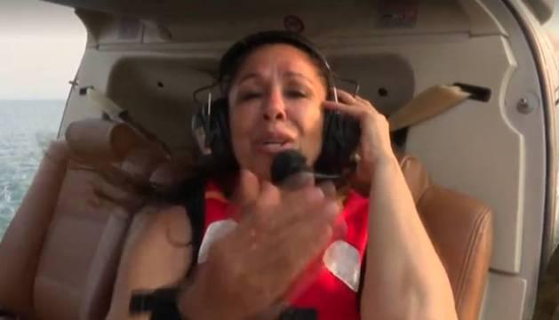 Foto de Isabel Pantoja, en el helicóptero de Supervivientes.
