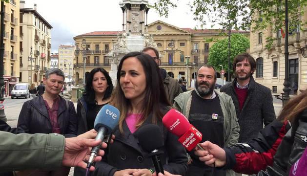 La candidata de Unidas Podemos al Congreso, Ione Belarra, este viernes en Pamplona.