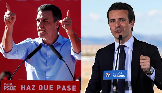 Pedro Sánchez y Pablo Casado, en el cierre de la campaña electoral.