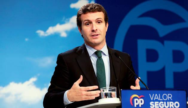 Pablo Casado, durante la rueda de prensa en Madrid tras la reunión del Comité Ejecutivo Nacional.