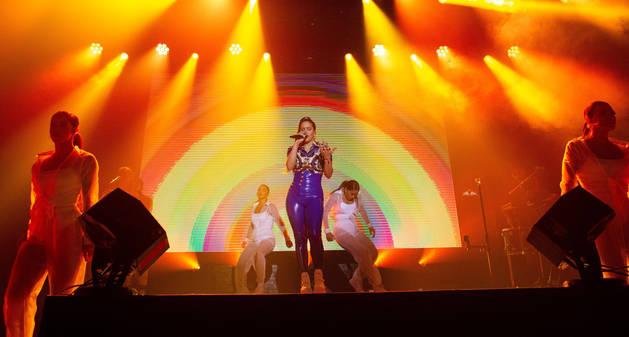 foto de La cantante Rosalía actúa durante un concierto en el Webster Hall de Manhattan, en Nueva York