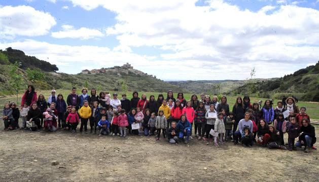 Foto de las Uxues, en el entorno de Ujué en que se ha creado el parque con la primera plantación de árboles, ayer por la mañana.