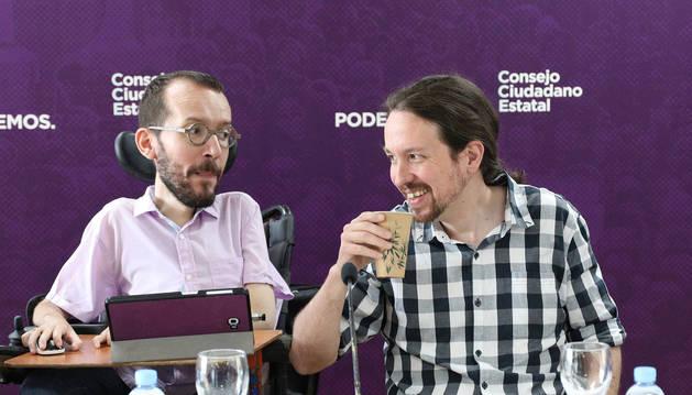 Echenique e Iglesias, en la rueda de prensa de Unidas Podemos.