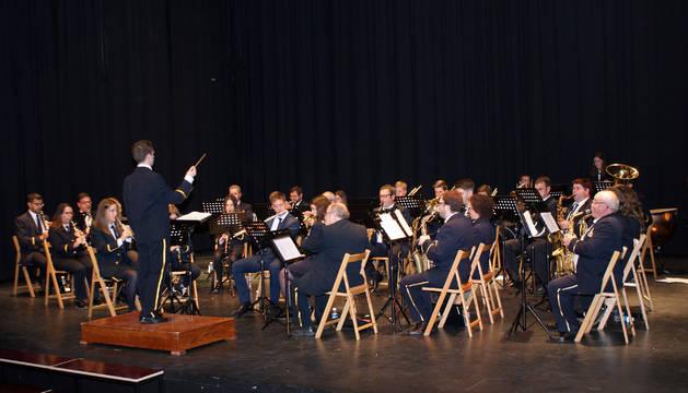 Los integrantes de la Banda de Música de Cascante, en un momento de su actuación.