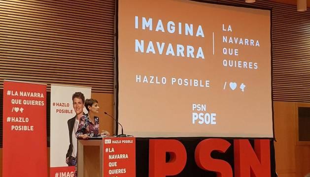 María Chivite durante el acto de inicio de campaña de las elecciones del 26M celebrado en Baluarte.