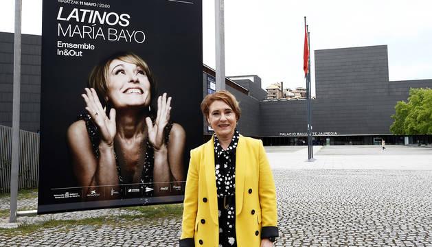 la soprano María Bayo durante la presentación del concierto 'Latinos' en el Baluarte de Pamplona