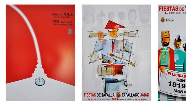 Imagen de los carteles finalistas para el anunciar las fiestas de Tafalla.