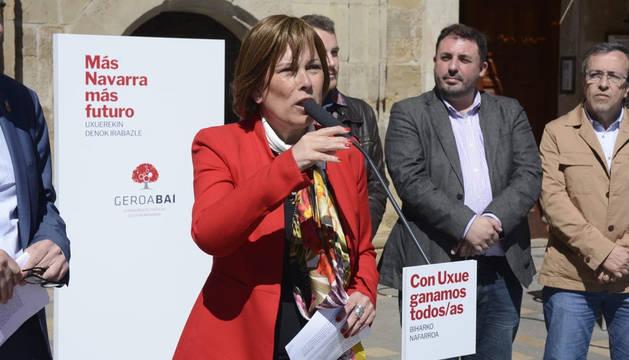 Uxue Barkos, durante el acto de campaña electoral este lunes, 13 de mayo, en Tudela.