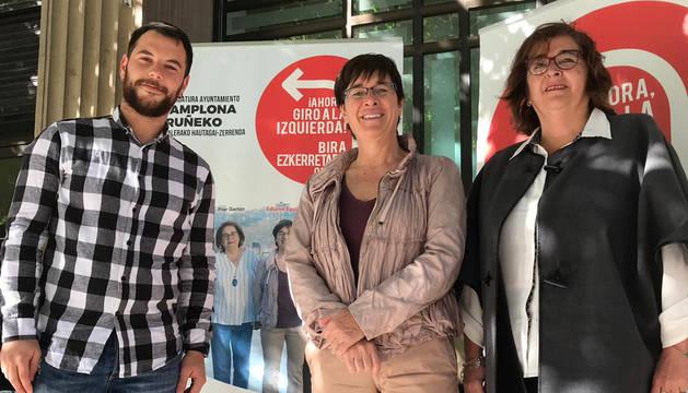 Rubén Ramallo, Edurne Eguino y Pilar Gastón, de la candidatura de IE al Ayuntamiento de Pamplona.