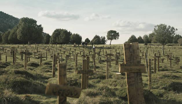 Rincón del cementerio de Sad Hill reconstruido en el término municipal de Santo Domingo de Silos, en Burgos.