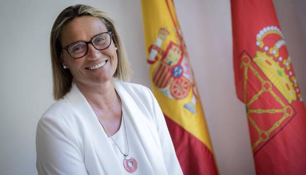 Irene Gorricho Soria (Pamplona, 1966) en la sede de Vox en Pamplona.