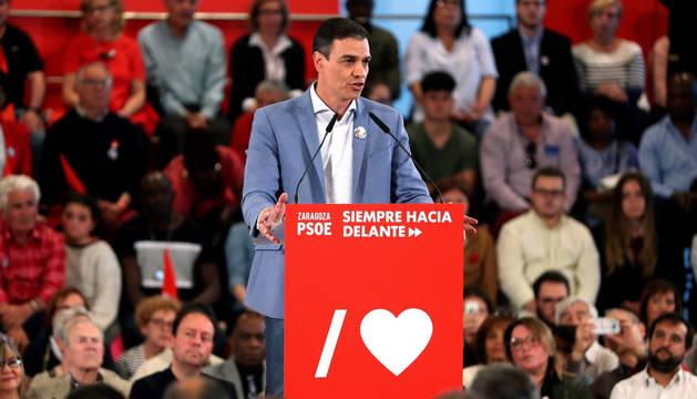 foto de Pedro Sánchez, durante un acto de esta campaña electoral