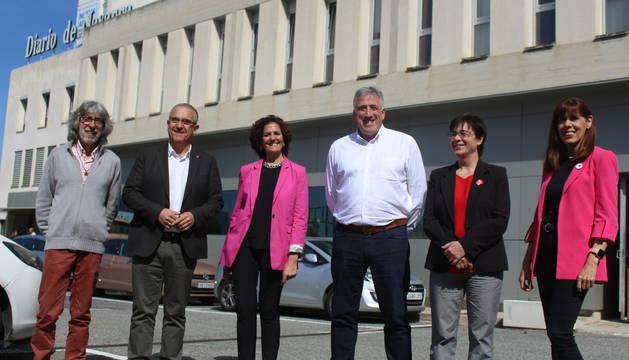 Los candidatos, en la sede de Diario de Navarra, este jueves