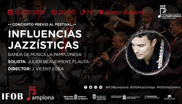 foto de Cartel del concierto 'Influencias Jazzísticas' de La Pamplonesa junto al flautista Julien Beaudiment