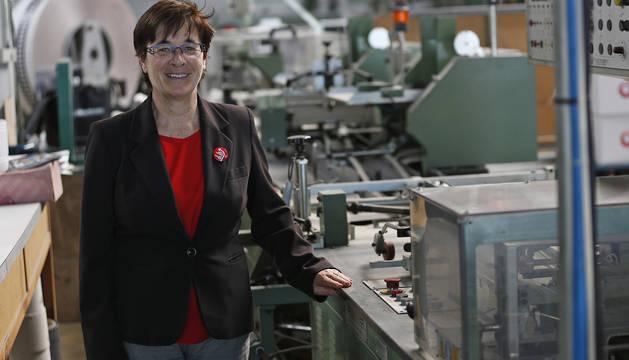 Edurne Eguino, candidata de I-E, en las rotativas de Diario de Navarra.