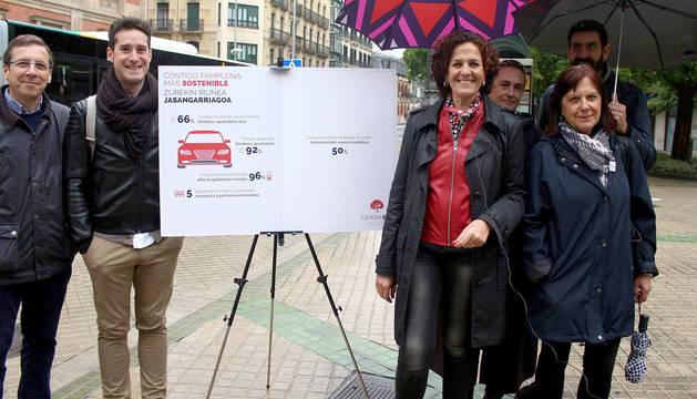 foto de Itziar Gómez, en un acto de campaña en Pamplona de Geroa Bai