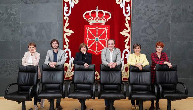 De izda. a dcha., María Chivite, Mikel Buil,