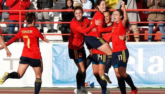 Imagen de un partido de la selección española femenina.