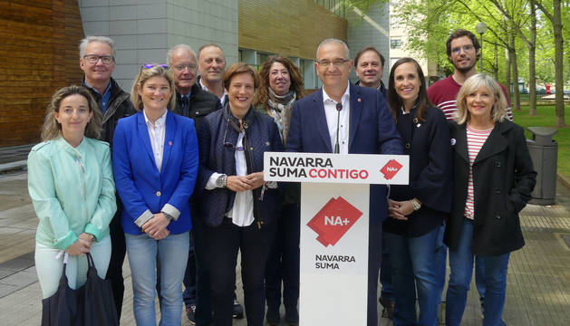 foto de Enrique Maya, en un acto electoral de Navarra Suma este martes