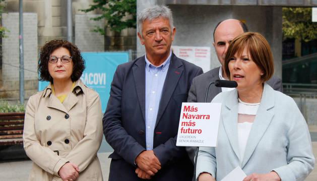foto de La candidata a la Presidencia de Navarra, Uxue Barkos, en un acto electoral de Geroa Bai
