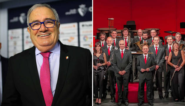 Imagen de los candidatos a lanzar el chupinazo de 2019, Luis Sabalza (izda.) y La Pamplonesa (dcha.).