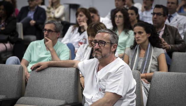 Médicos reunidos este jueves en asamblea en el Complejo Hospitalario de Navarra.