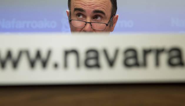 El vicepresidente de Desarrollo Económico del Gobierno foral, Manu Ayerdi, durante una comparecencia pública de la última legislatura.