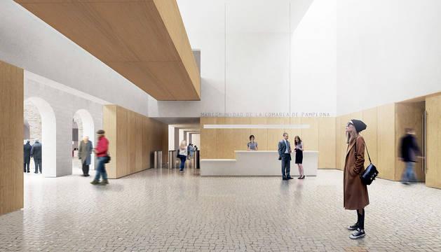 La recepción prevista en el futuro edificio.