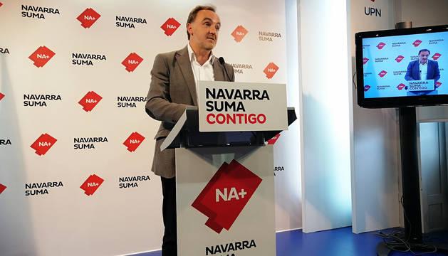 José Javier Esparza comparece ante los medios en la sede de UPN tras el balance del 26M.