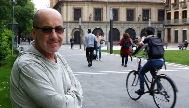 José Pedro Charlo, el lunes, en el paseo del Doctor Arazuri, en Pamplona.