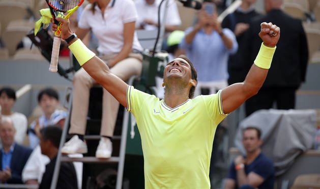 Rafael Nadal celebra su victoria contra Nishikori.