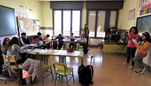 Alumnos del CP Blanca de Navarra durante una clase.