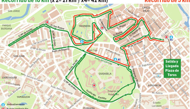 Los recorridos de la San Fermín Marathon.